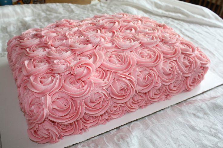 My Rosette Sheet Cake - Buttercream Rosettes | Jenn's Just ...
