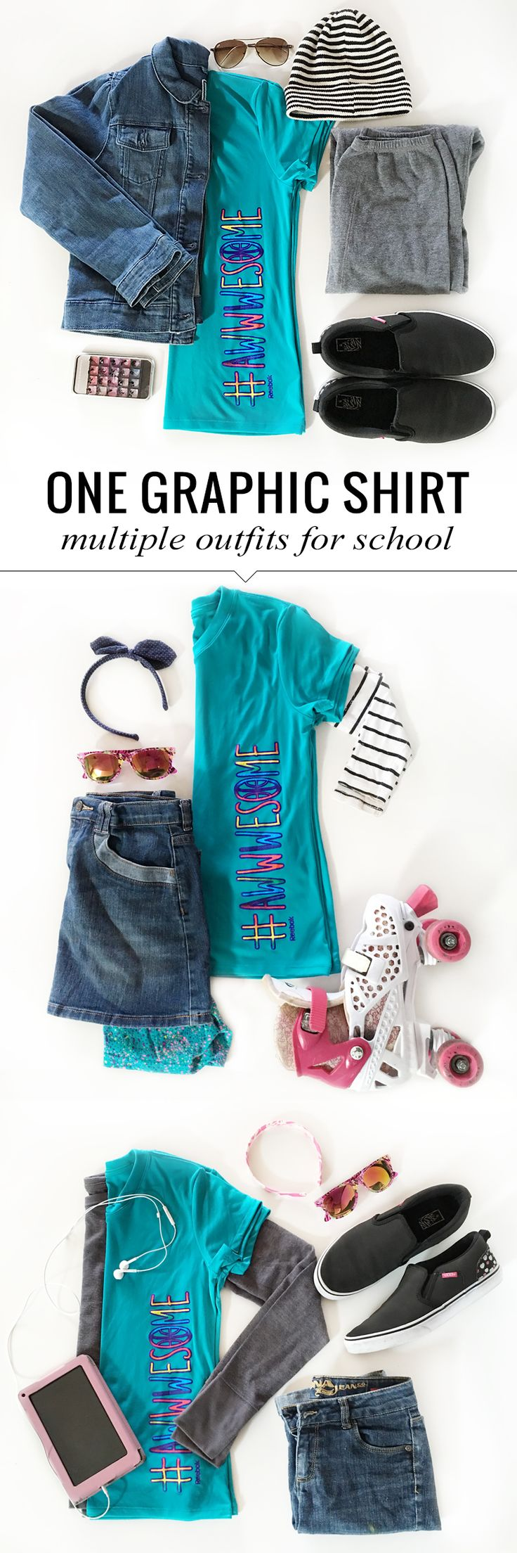 Back to School Shopping- 5 Tips to a Killer Wardrobe and multiple school looks with a single graphic tee for girls