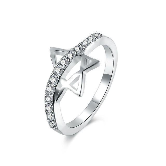 Изысканный и Новый Дизайн Бижутерия Звезда & Bling Кубического Циркония Кольца Для Женщин Свадебной Годовщины Свадьбы Серебряный Bague Ювелирные Изделия
