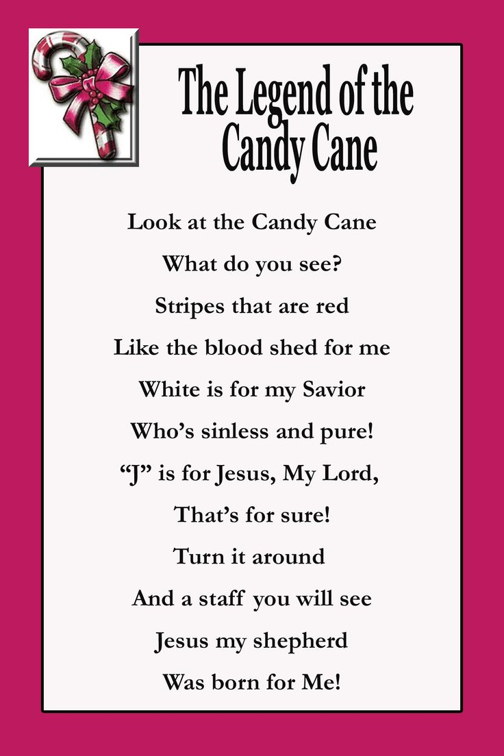 Christmas poems for church programs - Candy Cane Poem Printable Tag This Is Great For Sunday School Or Catechism Classes