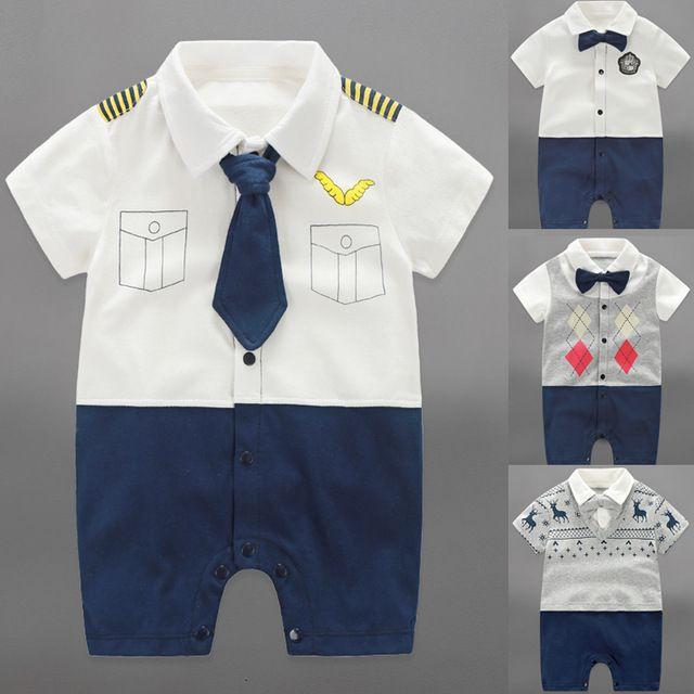 2016 Мальчиков Младенца Rompers Лето Baby Boy Одежда Наборы Roupas Bebes Коротким Рукавом Младенческой Baby Boy Комбинезоны Новорожденных детская Одежда