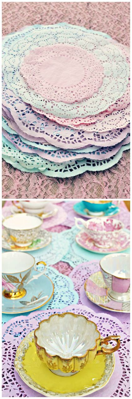DIY Dyed Doilies add an elegant touch to any tea party.