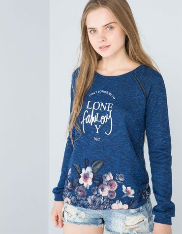 Bershka Switzerland - BSK floral and text sweatshirt