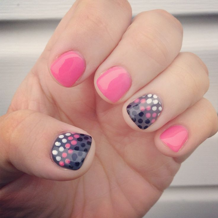 Gel Nails: Pink And Grey Polka Dots Gel Manicure