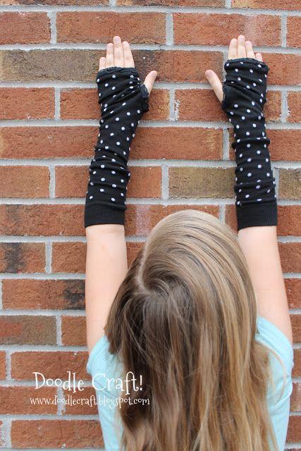 Fingerless Glove Arm Warmers made from Socks!