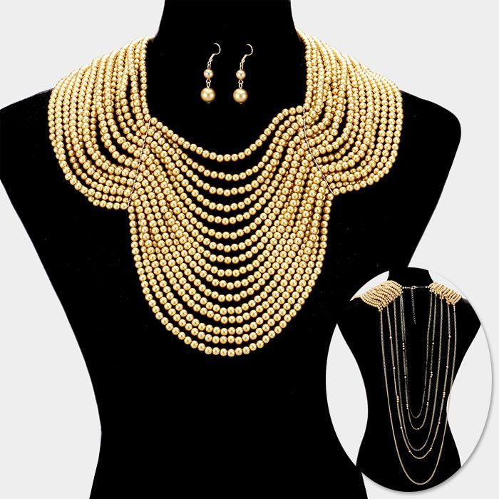 Draped Multi-Strand Pearl Bib Necklace for Women