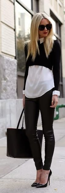 Short sweater leather tights with high heel shoes and handbag