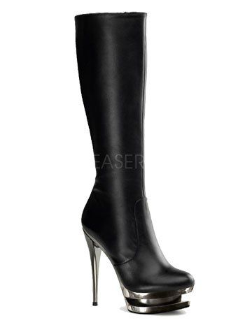 nice Dual Platform Black Leather Knee Boot - 6