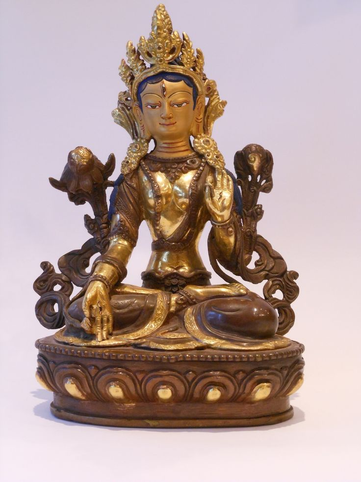 """Newari sculpture of Tara at Khazana - Tara is a female Bodhisattva, known as the, """"Mother of Liberation,"""" she represents the virtues of success in work and achievements."""