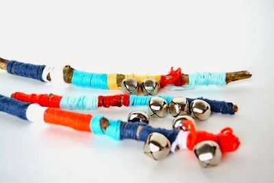 Untrendy Life yarn wrapped sticks with bells