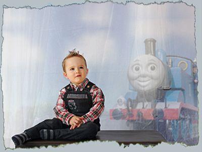 Séance photo et retouche petit garçon et Thomas le train