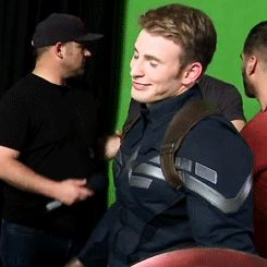 Behind the scenes Winter Soldier. Fangirling just a little. ;)