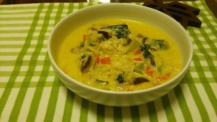 茸とチンゲン菜のスープ