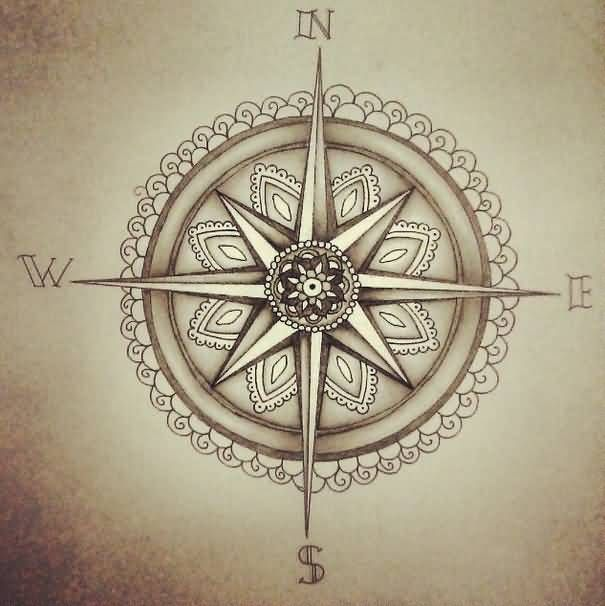 Traditional Compass Tattoo Design