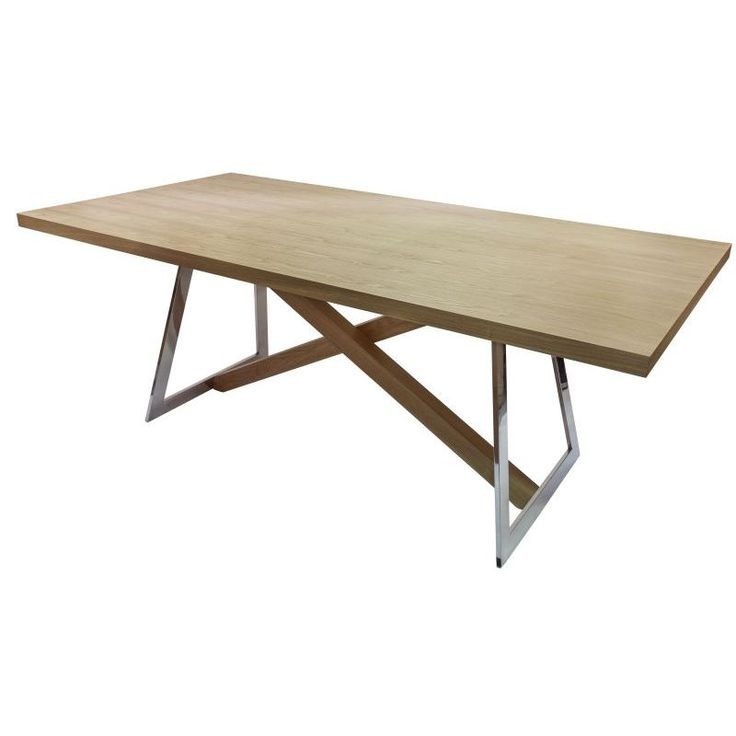 Oliver Wooden Dining Table w/ Steel Legs in Natural | Buy Furniture