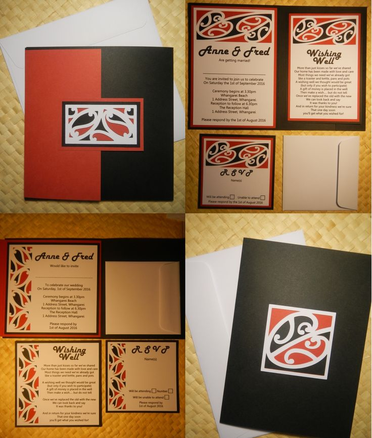 Maori Design Wedding Invitations with Wishing Well & RSVP Inserts (Square & A5 sizes)