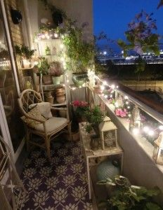 small balcony by night