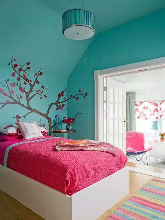 Bedroom with blue and pink