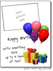 Printable verjaardag fotolijstjes, gratis verjaardagskaart sjablonen om af te drukken, leuke verjaardag thema fotosjablonen om af te drukken