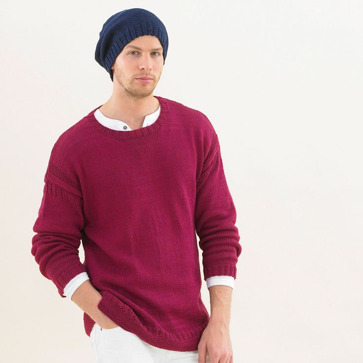A classic gansey style knitted in polished deep red from the Sublime egyptian cotton design book