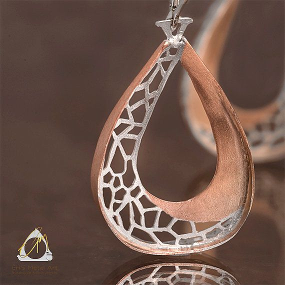 Rose-gold plated silver dangle Teardrop earrings.  Matching pendant necklace also available.