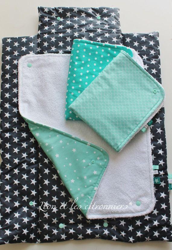 Tapis à langer nomade, tissu enduit, 3 serviettes interchangeables, pliable Léon et les citronniers*