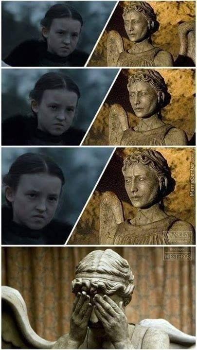 GoT / Dr Who humour: Lyanna Mormont (Bella Ramsey) vs. Weeping Angel: Lyanna wins hands down!