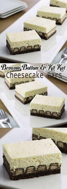 Brownie Bottom and Kit Kat Cheesecake Bars