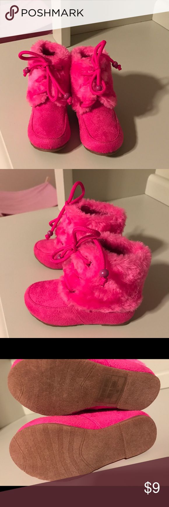 Cute pink toddler boots!! Cute little new fur boots size 4 toddler! My daughter never got a chance to wear them. Jelly Beans Shoes Boots
