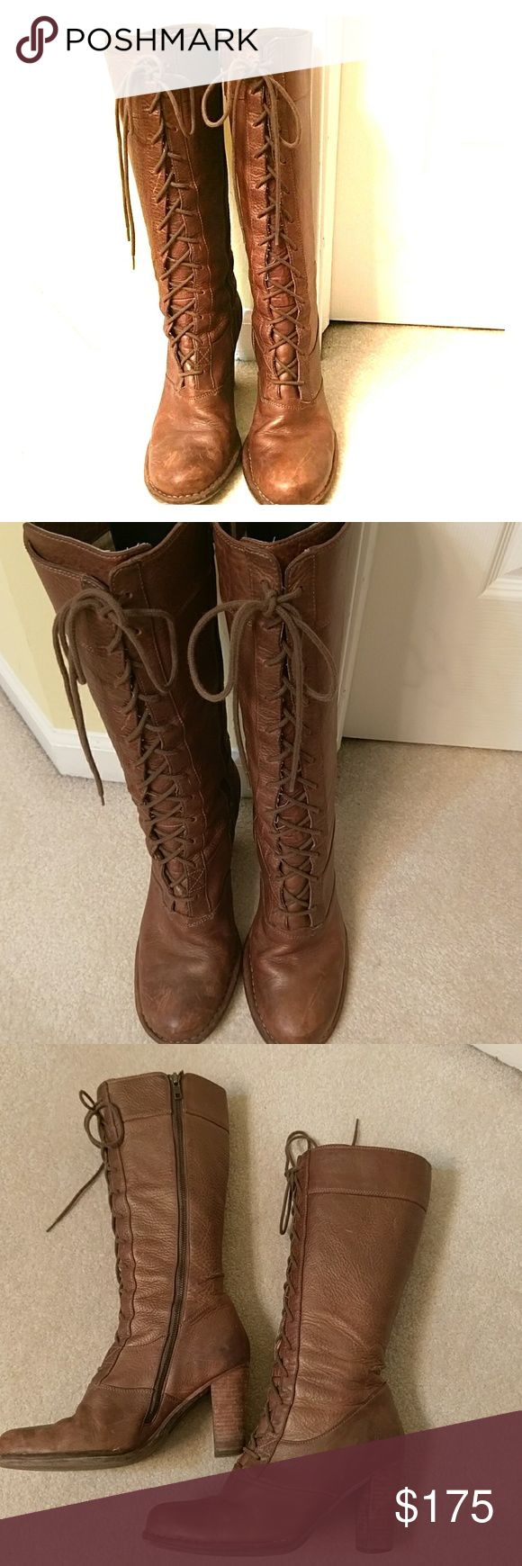 Frye lace-up tall boots Beautifully destressed by design adds to the charm of the boot. In great pre-loved condition. Golden brown color. 3.5 inch heel, side zipper, tie in front and can adjust for calf's size. Sorry no trades. Frye Shoes Heeled Boots