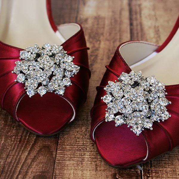 Rouge Red Wedding Shoes Kitten Heel Peeptoes Silver Brooch Low