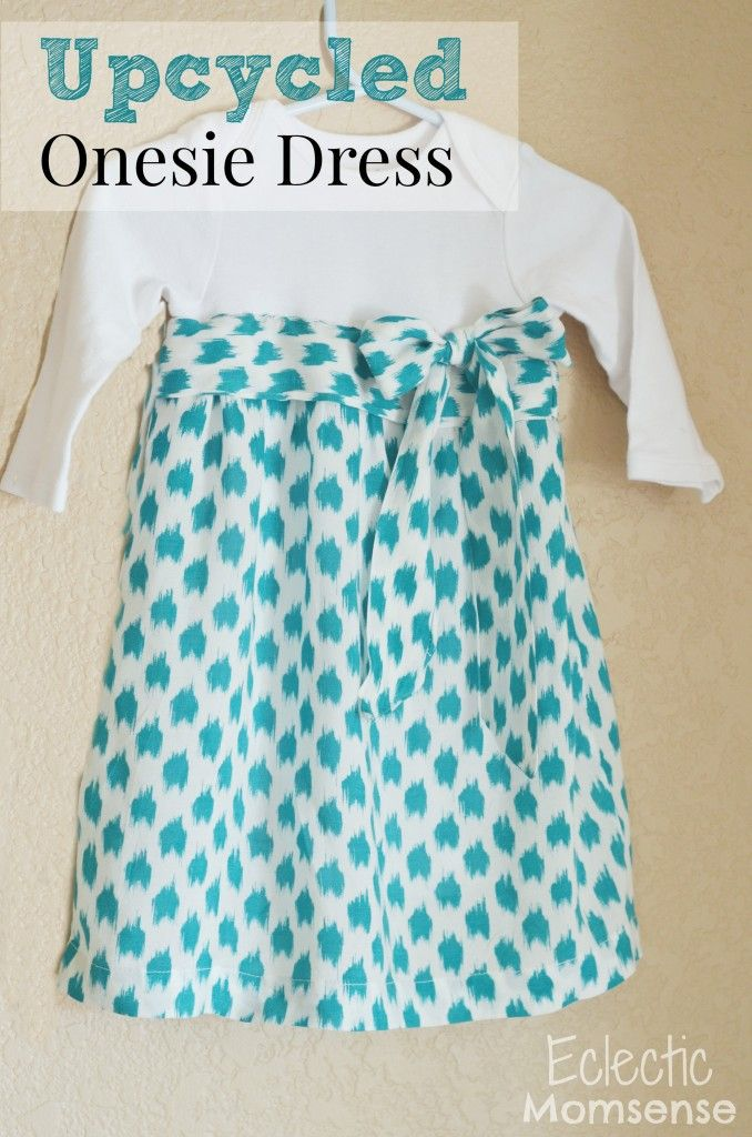Upcycled DIY Onesie Dress. Easy girl's dress tutorial with onesie and blouse.