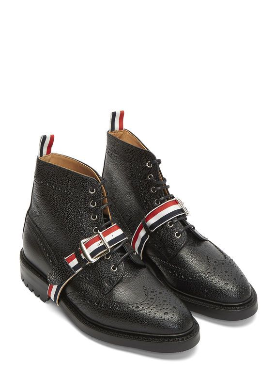Thom Browne Pebbled Leather Wingtip Brogue Boots| LN-CC