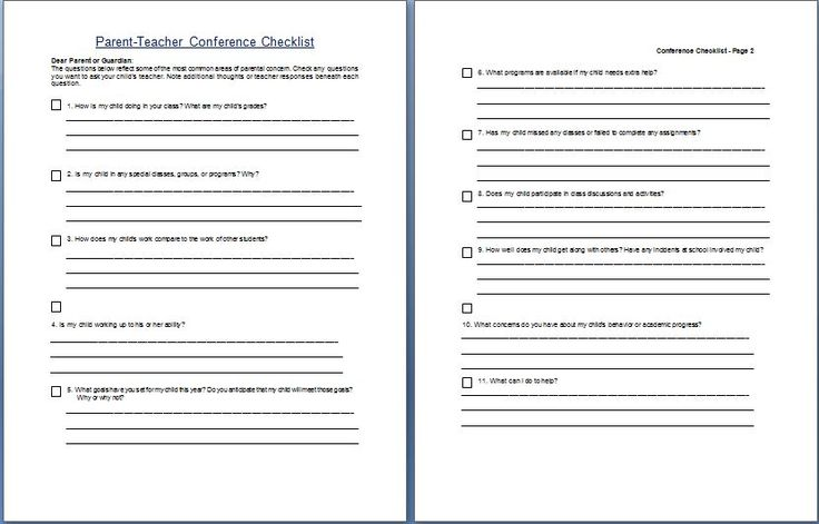 parent teacher conference schedule template