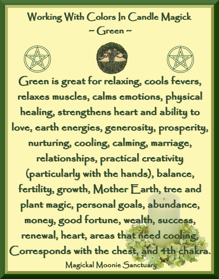 Candles:  Working with Colors in Candle Magick ~ Green. - Pinned by The Mystic's Emporium on Etsy