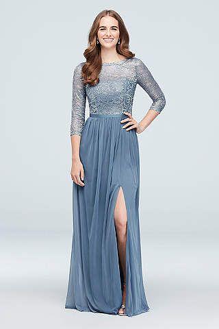 58b6504dd627 View Vintage 3/4 Sleeves Illusion Bridesmaid Dress at David's Bridal ...