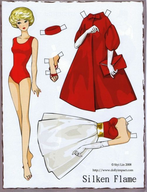 This site has a nice collection of bright paper dolls.  French language but English dolls  Les belles classic