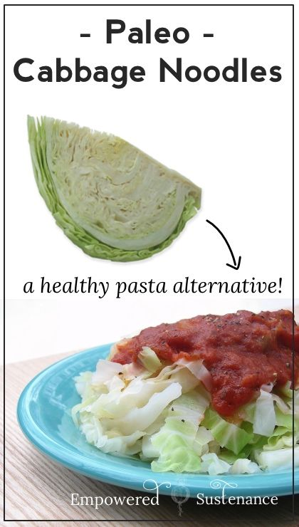 How to make #paleo cabbage noodles, a healthy alternative to pasta. No special kitchen tools needed! | EmpoweredSustenance.com