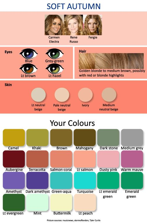 Color complexion chart for women with a soft autumn skin tone
