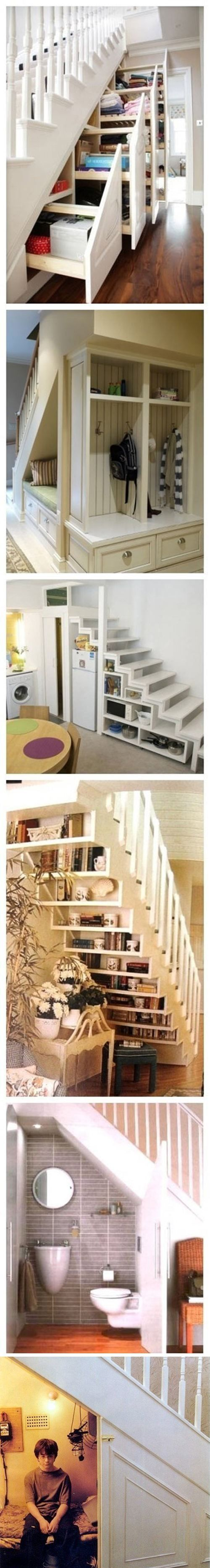 Under the stairs storage ideas (with the exception of storing your child under there. Don't know why they added Harry Potter in when photoshopping the pics together).  Really cool if you can do that in your house.