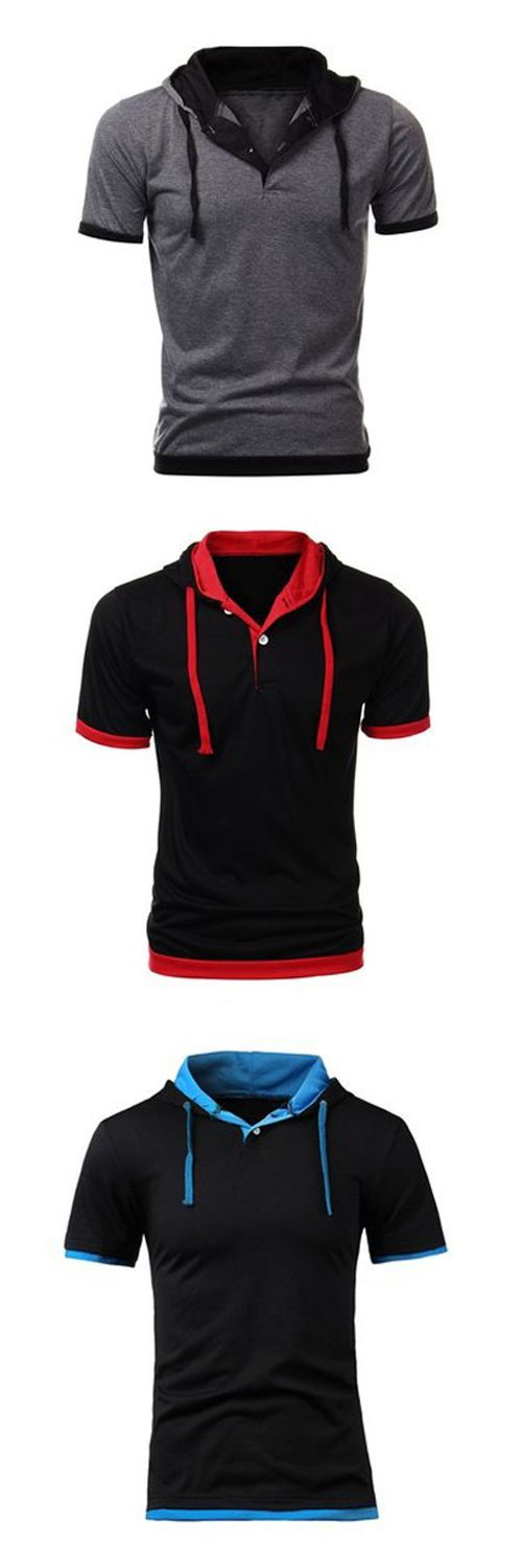 Mens Fashion Stitching Color Hooded Casual Short-sleeved T-shirt |t shirt for…