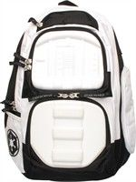Star Wars Imperial Stormtrooper Backpack Designs from the armor of an Imperial Stormtrooper decorate this cool backpack! The Star Wars Imperial Stormtrooper Backpack is white with padded adjustable straps. The backpack reflects the look of a Stormtrooper soldier from the Star Wars universe, complete with an image of the symbol of the Galactic Empire! - What a Great Backpack!
