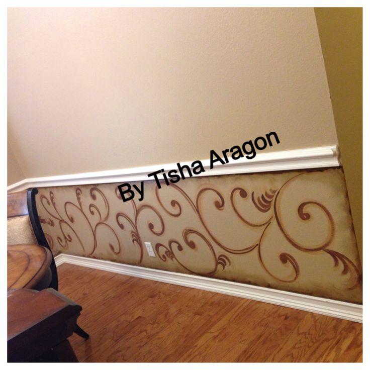 Painted Swirls Under Chair Rail