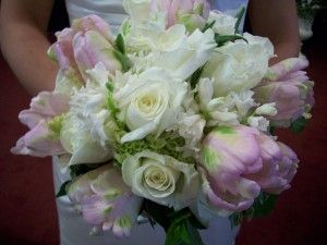 Bridal bouquet idea white roses french tulips hyancinth pink parrot tulips green hydrangea