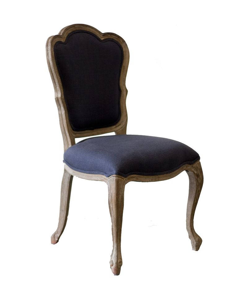 Side chair with navy blue fabric. Oak frame dining chair. French rococo style chair.