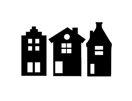 Raamstickers! Huisjes om op het raam te plakken. Verkrijgbaar in div maten.