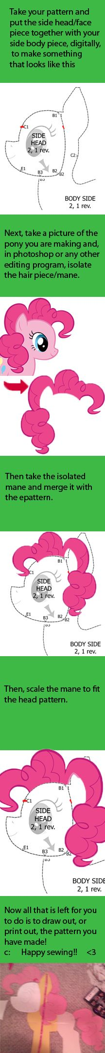 Mane tutorial for My Little Pony Plushies by Meowplease on deviantART