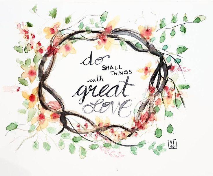 Do small things with great love. Floral illustration. Coroncina di fiori dipinta ad acquerello.