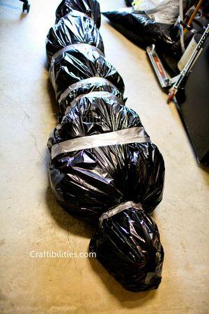 body bag, dead body tutorial, decor, DIY, duct tape, easy ...