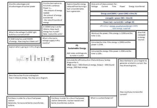 gcse aqa p3 revision poster worksheet exam esperimenti scuola gcse science revision gcse. Black Bedroom Furniture Sets. Home Design Ideas
